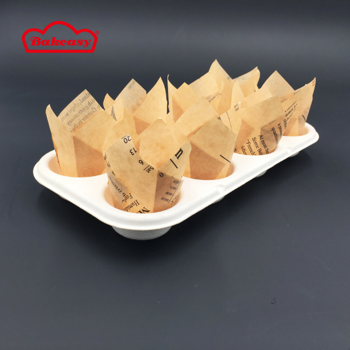 Mini tulip cupcake paper baking cups with newspaper style