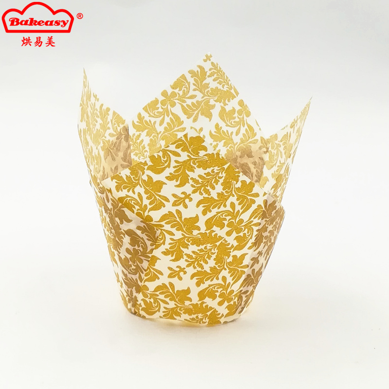 Golden leaves printed paper tulip cup